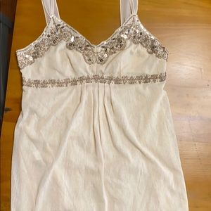 Beautifully beaded top with sheer ribbon straps